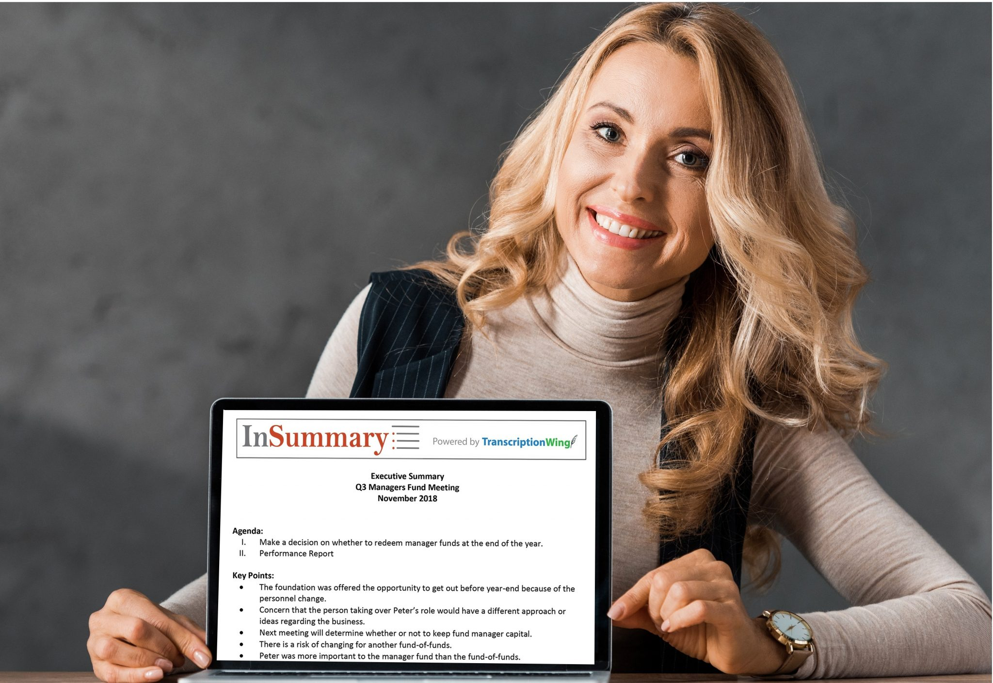 Editor presenting meeting minutes transcribed into a summarized report using TranscriptionWing's InSummary service